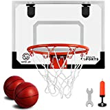 Super Joy Pro Indoor Mini Basketball Hoop Over The Door - Wall Mounted Basketball Hoop Set with Complete Accessories - Basketball Toy for Kids & Adults