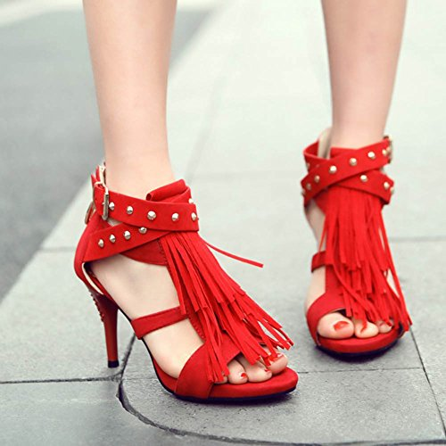 CHFSO Womens Elegant Peep Toe Stiletto Faux Suede Tassel Strappy Rivets Sandals Red wmZWl