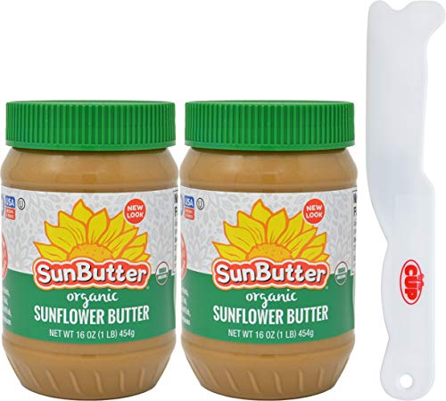 SunButter Creamy Organic Sunflower Seed Butter, 16 Ounce Plastic Jar (Pack 2) - with Exclusive By The Cup Sandwich Spreader