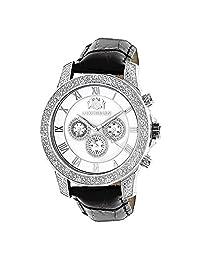 Luxurman Mens Diamond Watch 0.5Ct White Mop Freeze