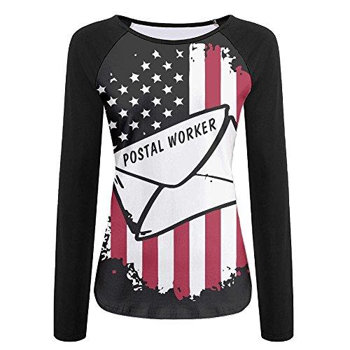 Postal Worker US Flag Women's Raglan Long Sleeve Shirt Baseball Tee Crew Neck (Worker Womens Raglan)
