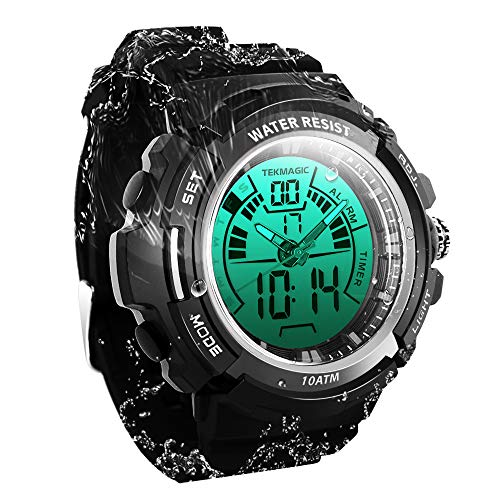 TEKMAGIC Digital Swimming Wrist Sports Watch 100m Water Resistant for Diving with LED Back Light Support Stopwatch and Chronograph Functions (W19-G) ()