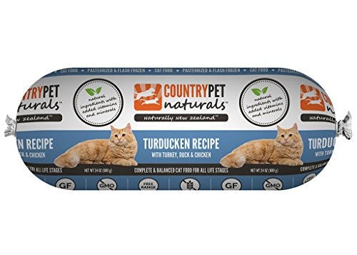 CountryPet Naturals Pasteurized Frozen Cat Food, Turkey Duck and Chicken Recipe (24 lbs Total, 16 Rolls each 1.5 lbs) - Natural Ingredients with Added Vitamins & Minerals - Made in New Zealand by CountryPet Naturals