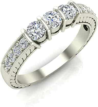 14b1183b3 1/2 ct tw Diamond Vintage Past Present Future Millgrain Setting Ring 14K  Gold (