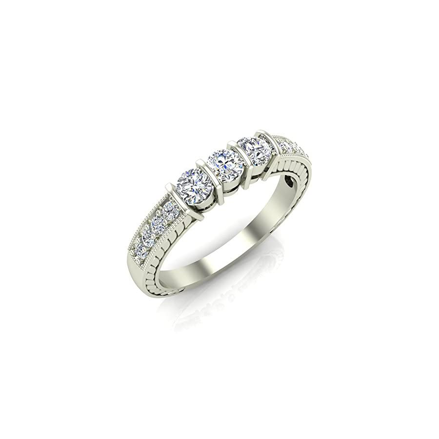Vintage Past Present Future Three Stone Diamond Ring 1/2 Carat Total Weight (0.50 ct) 14K Gold (G,SI)