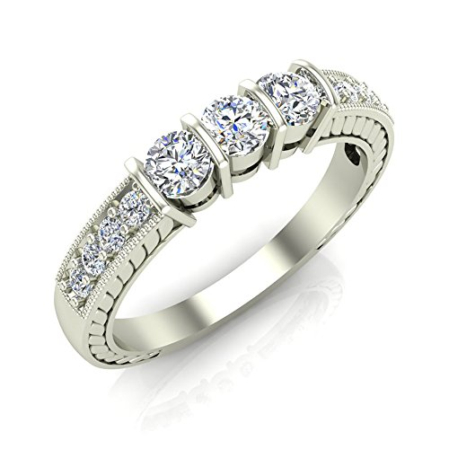 1/2 ct tw Diamond Vintage Past Present Future Millgrain Setting Ring 14K Gold (I,I1)