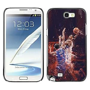 CASER CASES / Samsung Note 2 N7100 / Nba Basketball Poster / Delgado Negro Plástico caso cubierta Shell Armor Funda Case Cover