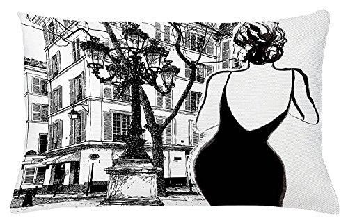 Donna Federa Facciata Per 20x30 Un Bianco Cuscino Tiro Accento Paesaggio Di Paris Vecchia Strade Nero Parigi Urbano Decorativo Di In Nero Cuscino Abito Le Giovane Pollici Dell'edificio xq1npI