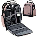 Portable Camera Backpack for DSLR/SLR (Brown) by USA Gear with Customizable Accessory Dividers, Weather Resistant Bottom, Comfortable Back Support for Canon EOS T5/T6 - Nikon D3300/D3400 & More