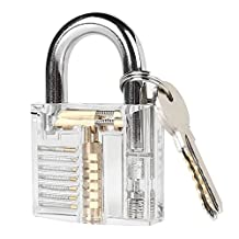 LEANINGTECH Professional Padlocks Lock Crystal Cutaway of Practice Training Skill Pick Lock for Beginners Locksmith with Two Keys