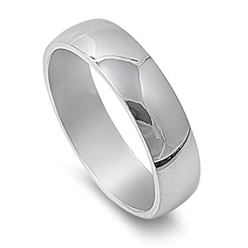 Banda de acero inoxidable pulido quirúrgico 316L 6 mm anillos de boda Plain tamaños 5 - 15: Amazon.es: Joyería
