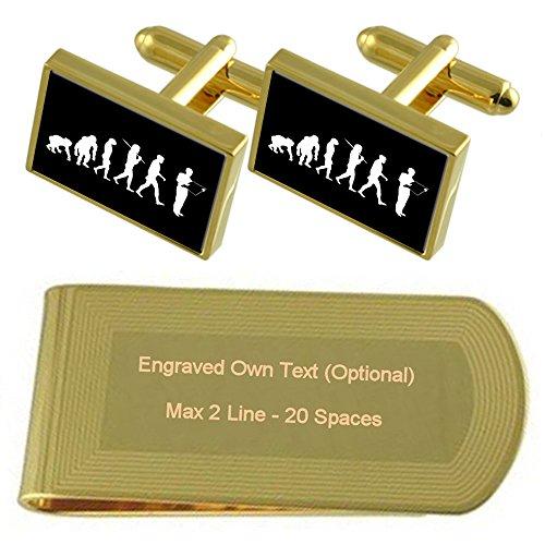 Gold Builder Man Engraved Money Clip tone Ape Set Cufflinks Evolution Gift to wqpSIF1