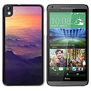 KOKO CASE / HTC DESIRE 816 / nubes plano plano montañas puesta del vuelo / Delgado Negro Plástico caso cubierta Shell Armor Funda Case Cover