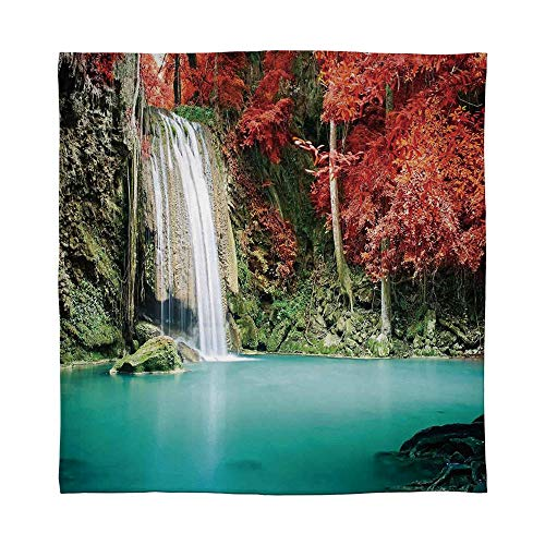 YOLIYANA Warm Flannel Blanket,Waterfall Decor,for Folding Bed Crib, Stroller, Travel, Couch and Bed,Size Throw/Twin/Queen/King,Single Waterfall in Corner of The Deep ()