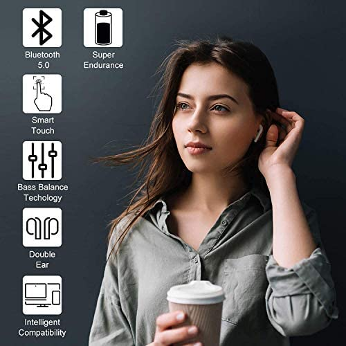 Bluetooth 5.0 Headset Earbuds Headphones Built-in Microphone and Charging Box,3-D high-Definition Stereo Noise Reduction,Suitable for Apple Airpods Android/iPhone/Samsung