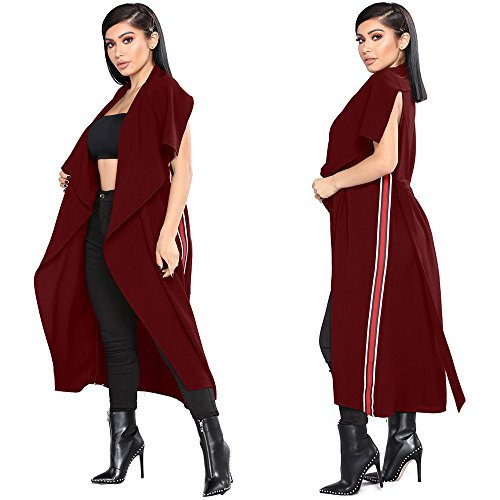 YKA 2018 Women's Fashion Casual Open Front Cape Sleeveless Solid Trench Duster Coat Longline Blazer by YKA (Image #4)