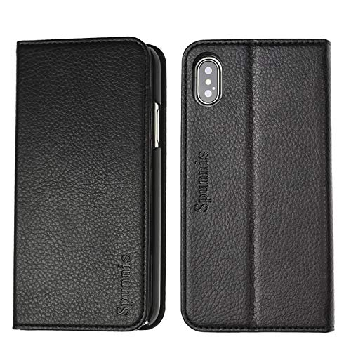iPhone X Wallet Case, iPhone Xs Case SPUNNIS [Series A117] iPhone X Leather Case with [Stand Feature] 3 Card Slot Flip Wallet Case for Apple iPhone X/Xs, 5.8 inch, Black