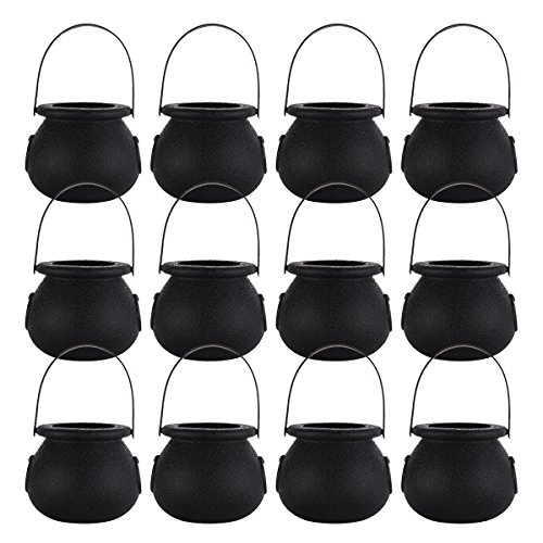 12Pcs Mini Plastic Candy Kettles Bucket Cauldron Holder Pot with Handle for Halloween Decoration Party Favors Black One -