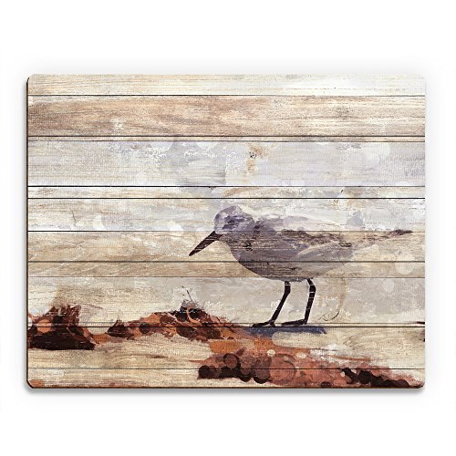 Sandpiper Painting Slatted Wood: Beach Scene with Waves in the Sun of Bird Hunting Searching for Food Nautical for Beach House Wall Art Print on Wood