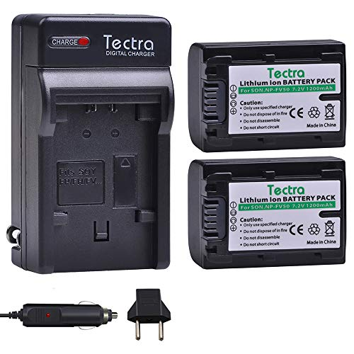 Tectra 2Packs NP-FV50 Battery + Charger Kits for Sony NP-FV30 NP-FV40 NP-FV50 NP-FV70 NP-FV100 & Sony Handycam HDR-CX380 430V 900 580V 760V HDR-PJ540 650V HDR-PV710V 790V 810 HDR-TD30V FDR-AX100 DCR-S