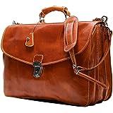 Floto Olive (Honey) Brown Leather Briefcase Messenger Bag
