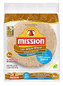 Mission Foods Whole Wheat Burrito, 8 ct