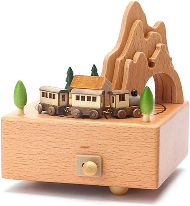 Navigatee H/ölzerne Spieluhr Nettes Kindergeburtstagsgeschenk Spieluhr Riesenrad und Zug skilful Relaxing