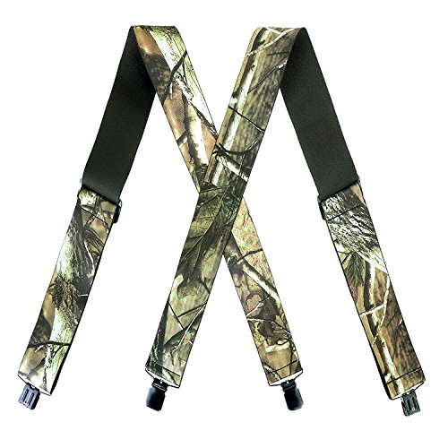 (MENDENG 2 Inch Camo Suspender X Back Elastic Strong Clips Braces Heavy Duty)