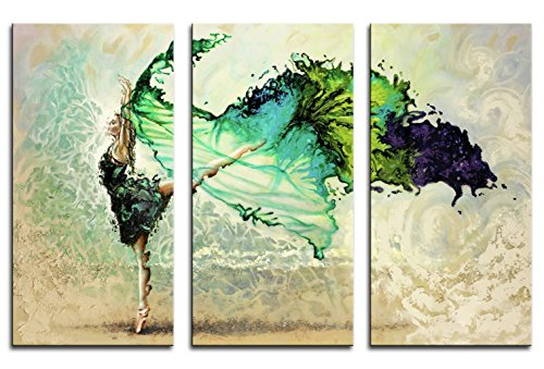 Niwo ART (TM) - Green Skirt Dancing Girl (3pcs/set) - Ballet Dancing Series, Modern Abstract Oil Painting Reproduction. Giclee Canvas Prints Wall Art for Home Decor, Stretched, Framed, Ready to (Red Dragon Girl Geisha Costume)