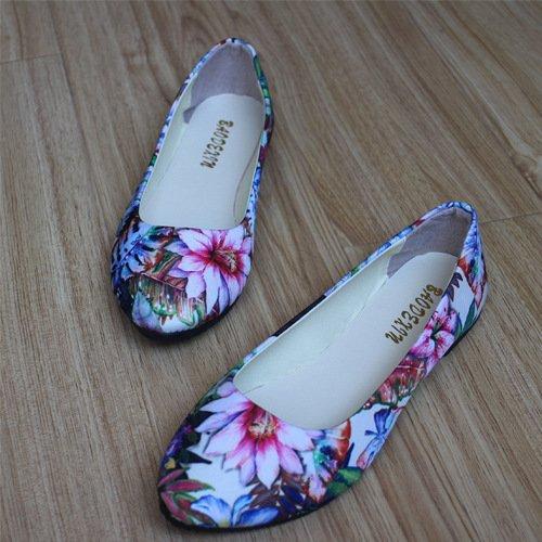 LEIT Mujer Zapatos Delgado Fondo Plano Casual Confort Floral Algodón Señaló Boca Superficial White