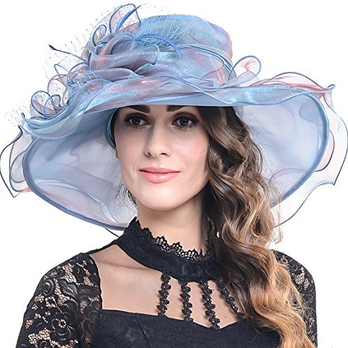 Women Floral Wide Brim Church Derby Kentucky Dress Hat (4 Colors) (S042-Peacock blue)