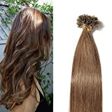 U Tip Human Hair Extensions 100 Strands Keratin Pre Bonded U/Nail Tip 100% Remy Real Human Hair Soft Silky Straight 18″-50g (#6 Light Brown)