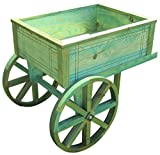 SamsGazebos Flower Cart Wood Planter Stand, 30''L x 23-1/2''H x 22-1/2''W , Treated, Green
