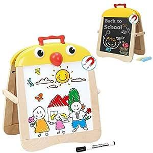 Pizarra Magnética Infantil 2 en 1 de Madera para Dibujo Niños Niñas Bebes – Doble Cara Magnetica Blanca y Tiza – Portable y Fácil de Transportar – ...