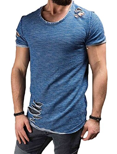 6328c335216 XARAZA Men s Short Sleeve Crew Neck Slim Fit Fitness T-Shirt Tops with  Ripped Holes