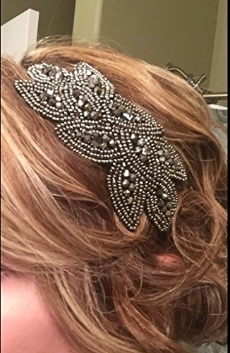 Beaded Flapper Headband Leaf Vintage 1920s Inspired Hairband Hair Accessory, Grey by CB Accessories (Image #8)
