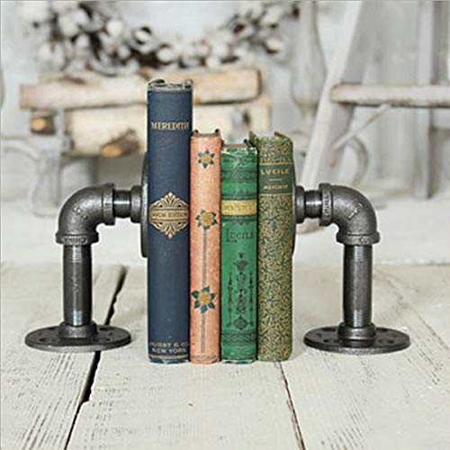 Warm Van Industrial Pipe Bookends Pipe Shelf Brackets,Rustic Farm House Industrial Iron Pipe Decor Shelves,Bookshelves,Floating Brackets,Office Desk Bookmark(2pcs)