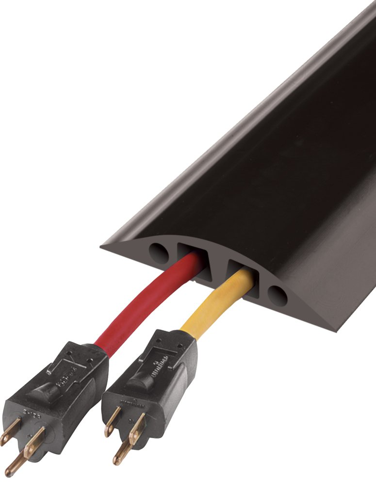 Powerback RFD6-10 Durable Rubber Large Two Channel Duct Protector, Black, 10' Length by Checkers Industrial Safety Products (Image #1)