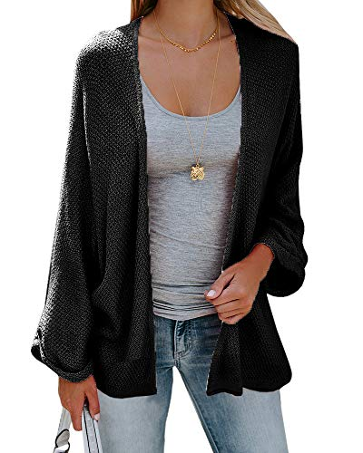 Sherrylily Womens Loose Open Front Kimono Cardigan Cape Long Sleeve Solid Color Sweater Cloak Black ()
