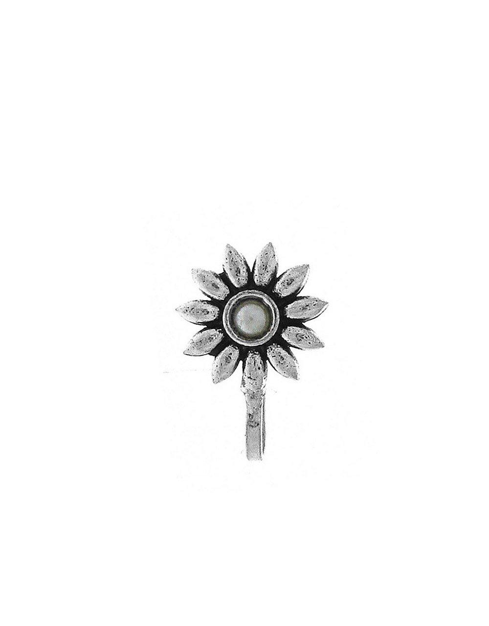 Anuradha Art Silver Oxide Finish Flower Styled Designer Clip-On Nose Ring/Pin For Women/Girls