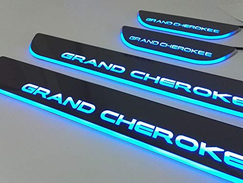 Nicebee 4pcs//Set Blue Lights LED Front /& Rear Door Sill Entry Guard Bars Protection Cover Pedal for Jeep Grand Cherokee 2011-2016