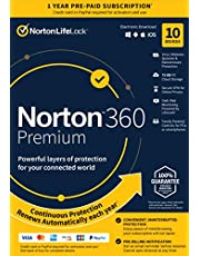 Norton 360 Premium – Antivirus software for 10 Devices with Auto Renewal - Includes VPN, PC Cloud Backup - 2020 Ready [Key Card]
