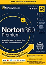 Norton 360 Premium – Antivirus software for 10 Devices with Auto Renewal - Includes VPN, PC Cloud Backup - 202