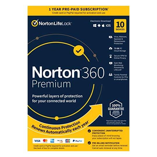Norton 360 Premium 2021 – Antivirus Software for 10 Devices with Auto Renewal – Includes VPN, PC Cloud Backup & Dark Web…