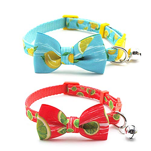 azuza Cat Collar with Bowtie, Safety Breakaway Cat Collar with Bell, Lemon/Lime Pattern, 2 Pack ()
