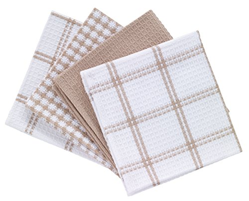 T-fal Textiles 24359 4-Pack Cotton Flat Waffle Dish Cloth, Sand