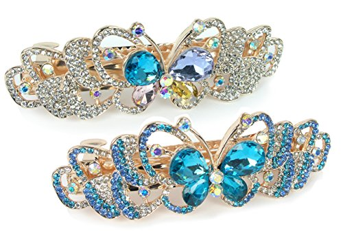 Rhinestone Barrettes Jeweled Butterfly Crystals
