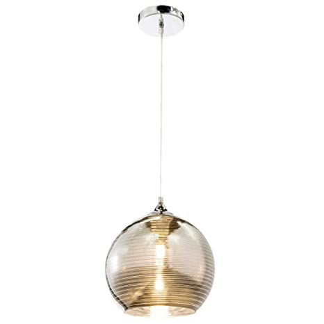 Lámpara de techo esférica con líneas decorativas, cromo y ...