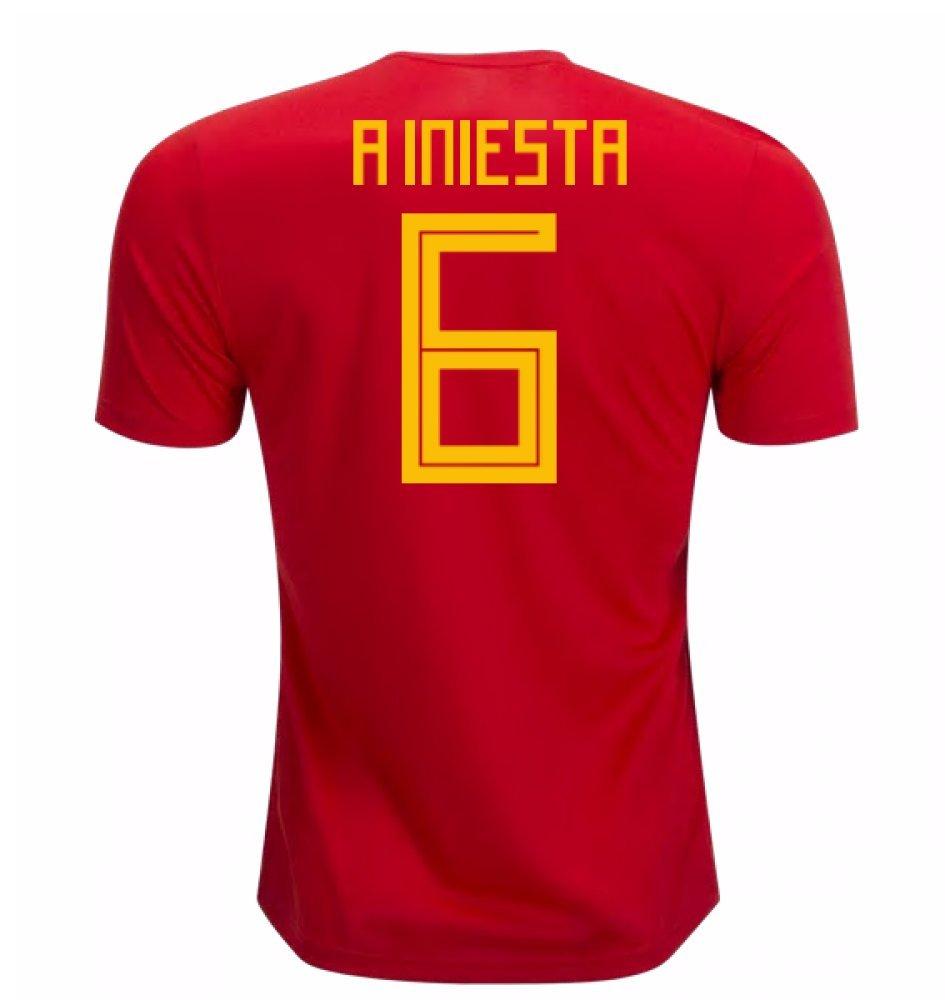 2018-19 Spain Home Football Soccer T-Shirt Trikot (Andres Iniesta 6) - Kids