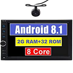 Upgraded 7 Inch Capacitive Touch Screen Android 8.1 Octa Core CPU Double Din Car Stereo in Dash GPS Navigation Support Bluetooth WiFi Car Radio Audio Headunit Subwoofer Video Out with Free Backup Camera and Remote Control GPS - Support Maps: ...